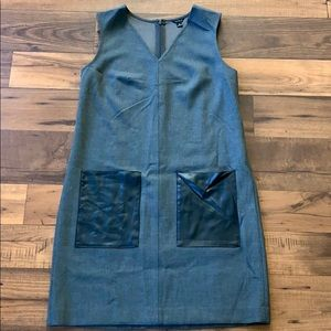 Gray Ann Taylor Dress with Faux- leather pockets